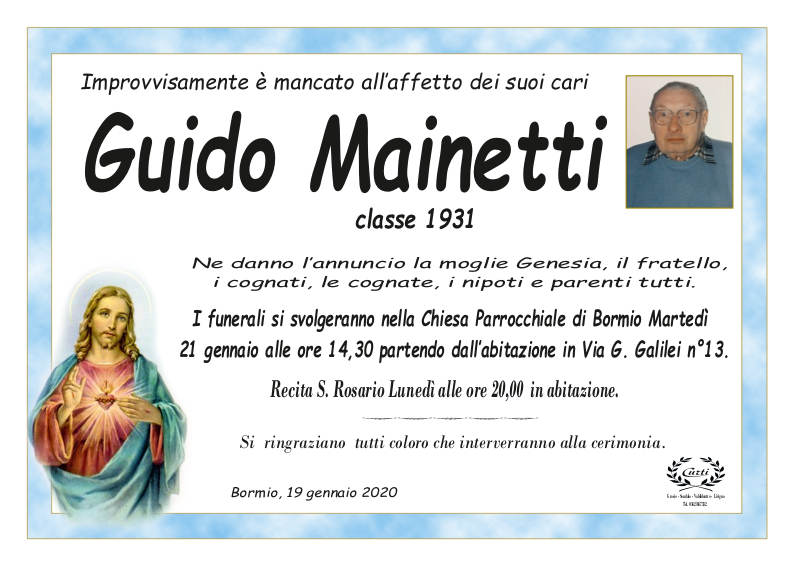 necrologio Mainetti Guido