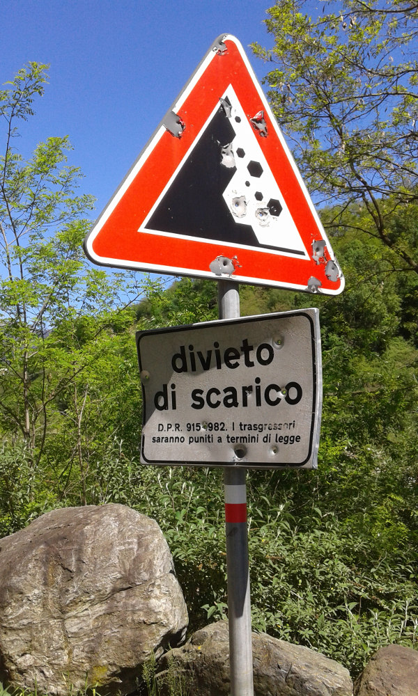 cartello, ciclabile Lovero, spari