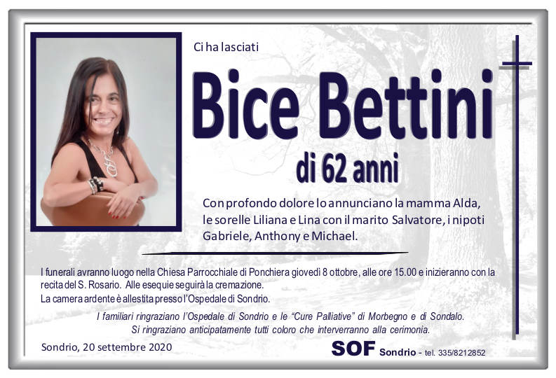 necrologio Bettini Bice